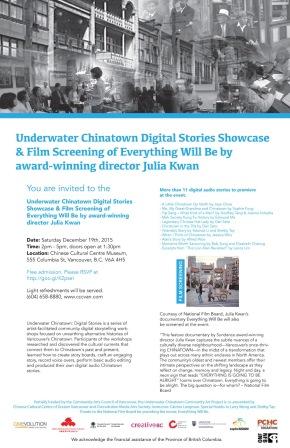 Underwater Chinatown Digital Stories Showcase & Film screening of documentary Everything Will Be by JuliaKwan