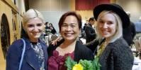 Partner Janine Jurji of the Vancouver Courier with Advisor Esmie Gayo McLaren and Monique (MiMOKO Ceramics)