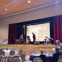 Musicians set up at the Gala